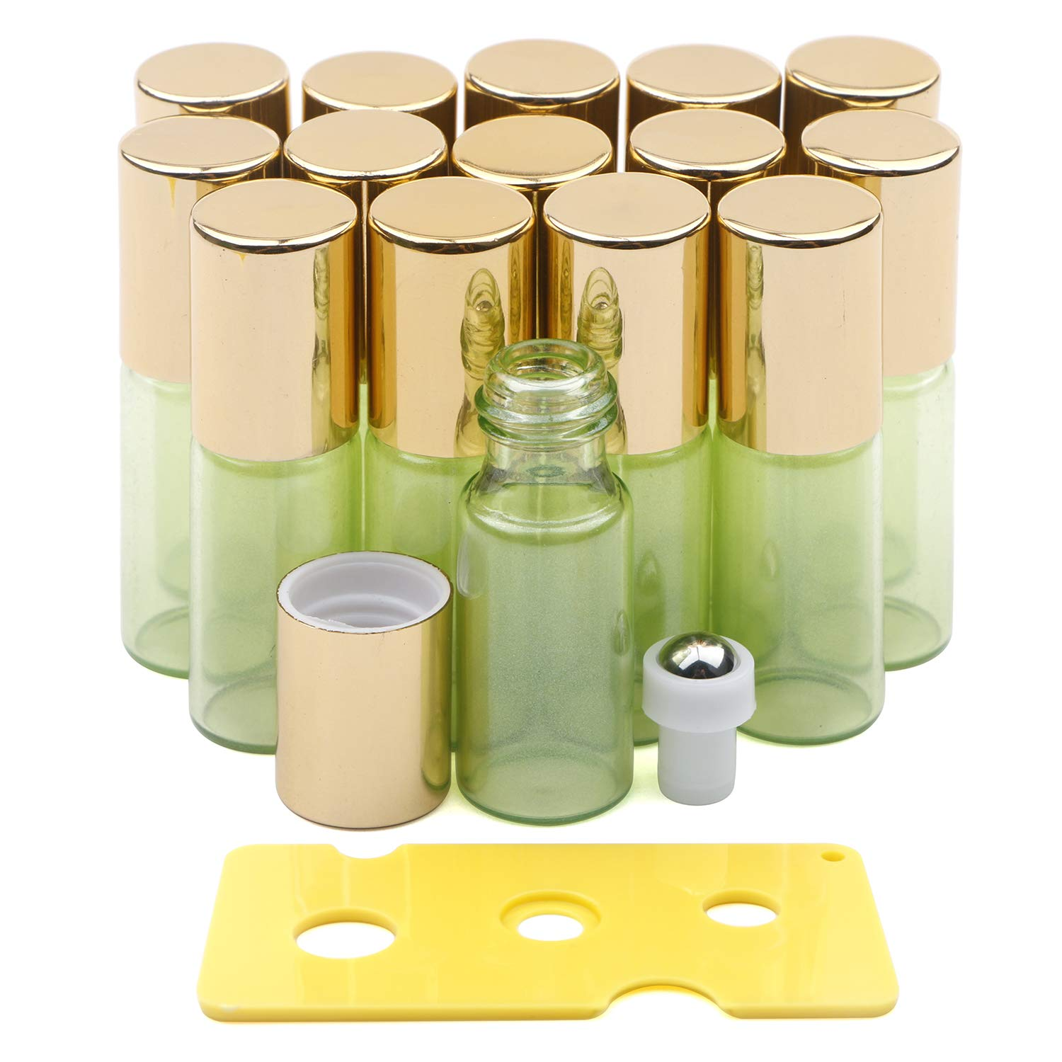 Glass Roller Bottles, Kesell 15 Pack Light Green 5ml Roller Bottles for Essential Oils with Stainless Steel Roller Balls and Opener by Kesell