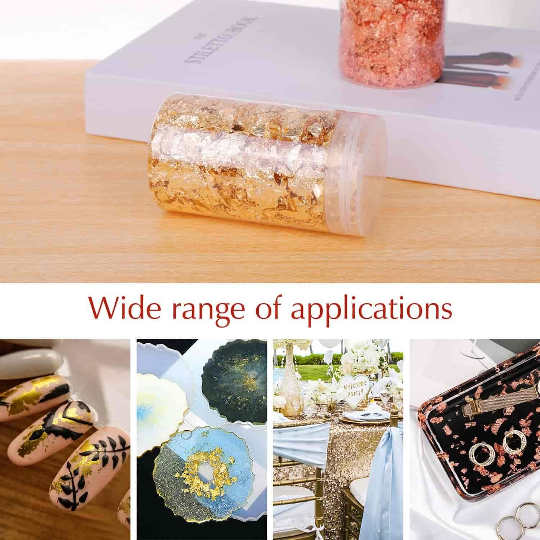 Gold, Copper Colors Slime Nails Shynek 3 Grams Gold Foil Flakes Imitation Metallic Leaf Flakes for Resin Jewelry Making Gold Flakes for Resin Painting Crafts