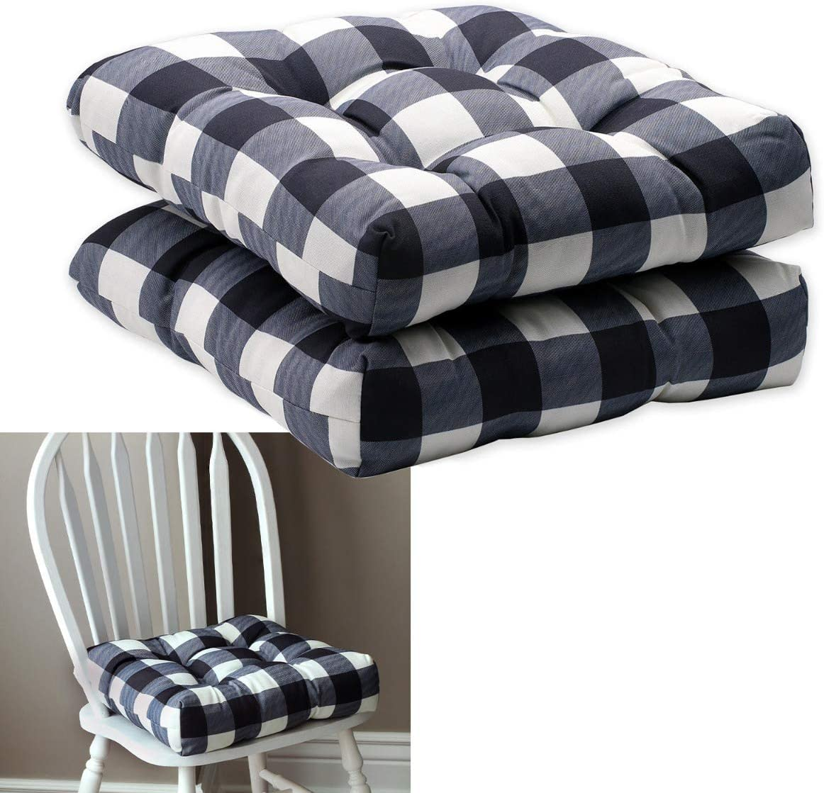 Howplum 2 Pack Kitchen Dining Chair Pad Reversible Seat Cushion For Indoor Use With Ties Black White Buffalo Check Plaid Amazon Ca Home Kitchen