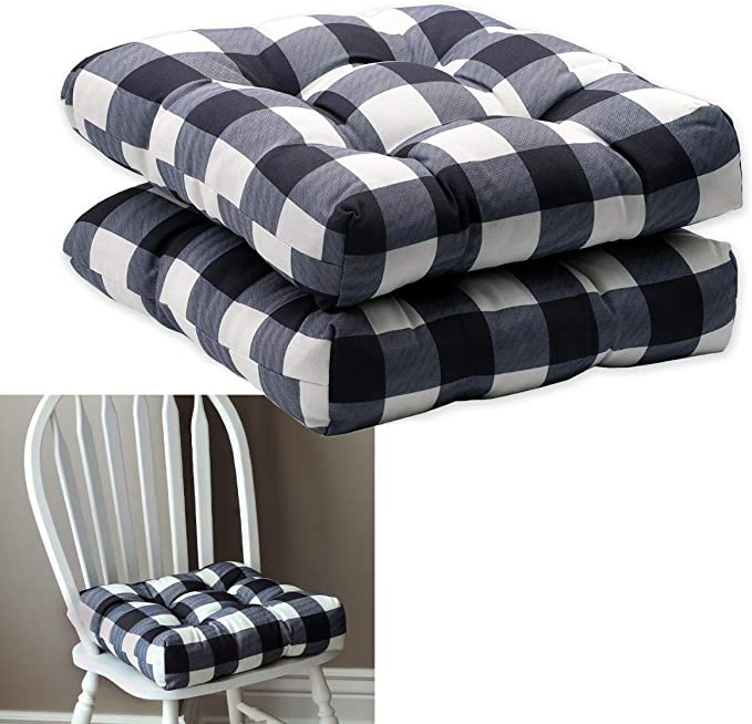 Amazon.com: HowPlum 2-Pack Kitchen Dining Chair Pad Reversible Seat Cushion for Indoor Use with Ties, Black White Buffalo Check Plaid: Kitchen & Dining