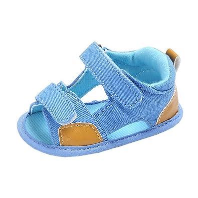226de82841d80 Evedaily Bébé Garçon Fille Sandales Velcro Chaussures Premiers Pas Été en  Tissu Antidérapantes -Bleu Clair