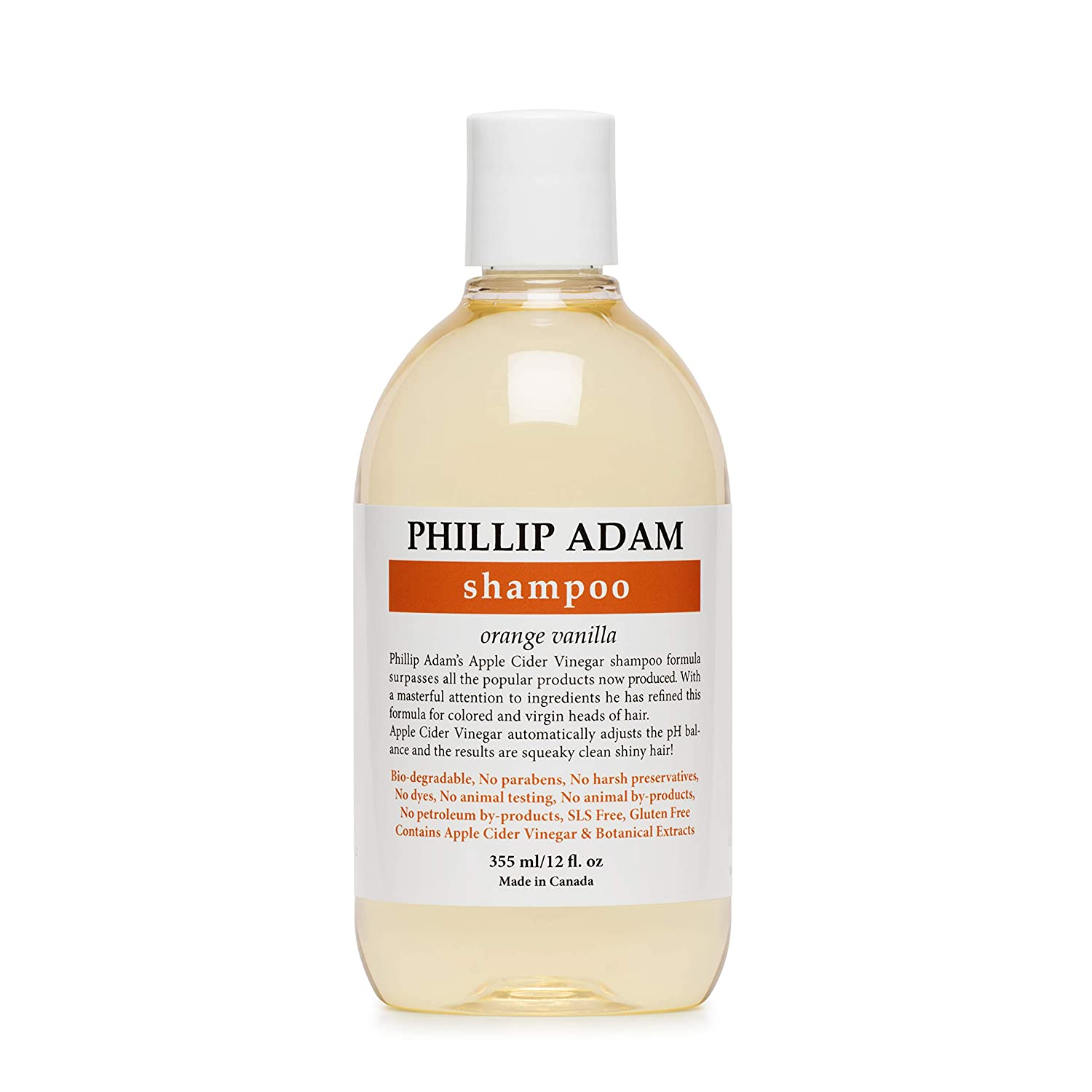 Phillip Adam Orange Vanilla Shampoo for Shiny Hair - Enriched with Apple Cider Vinegar - Sulfate Free - 12 Ounce