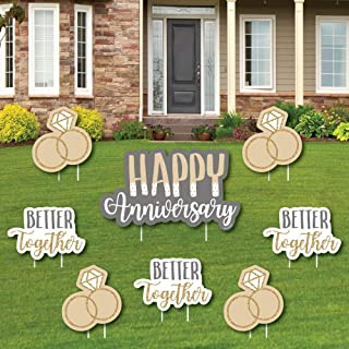 product image for Happy Anniversary - Yard Sign and Outdoor Lawn Decorations - Gold and Silver Wedding Anniversary Yard Signs - Set of 8