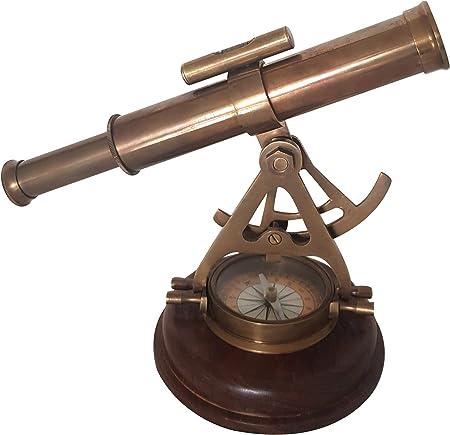 Handmade Solid Brass Alidade Compass Tube Telescope Alidade Marine Design Decor