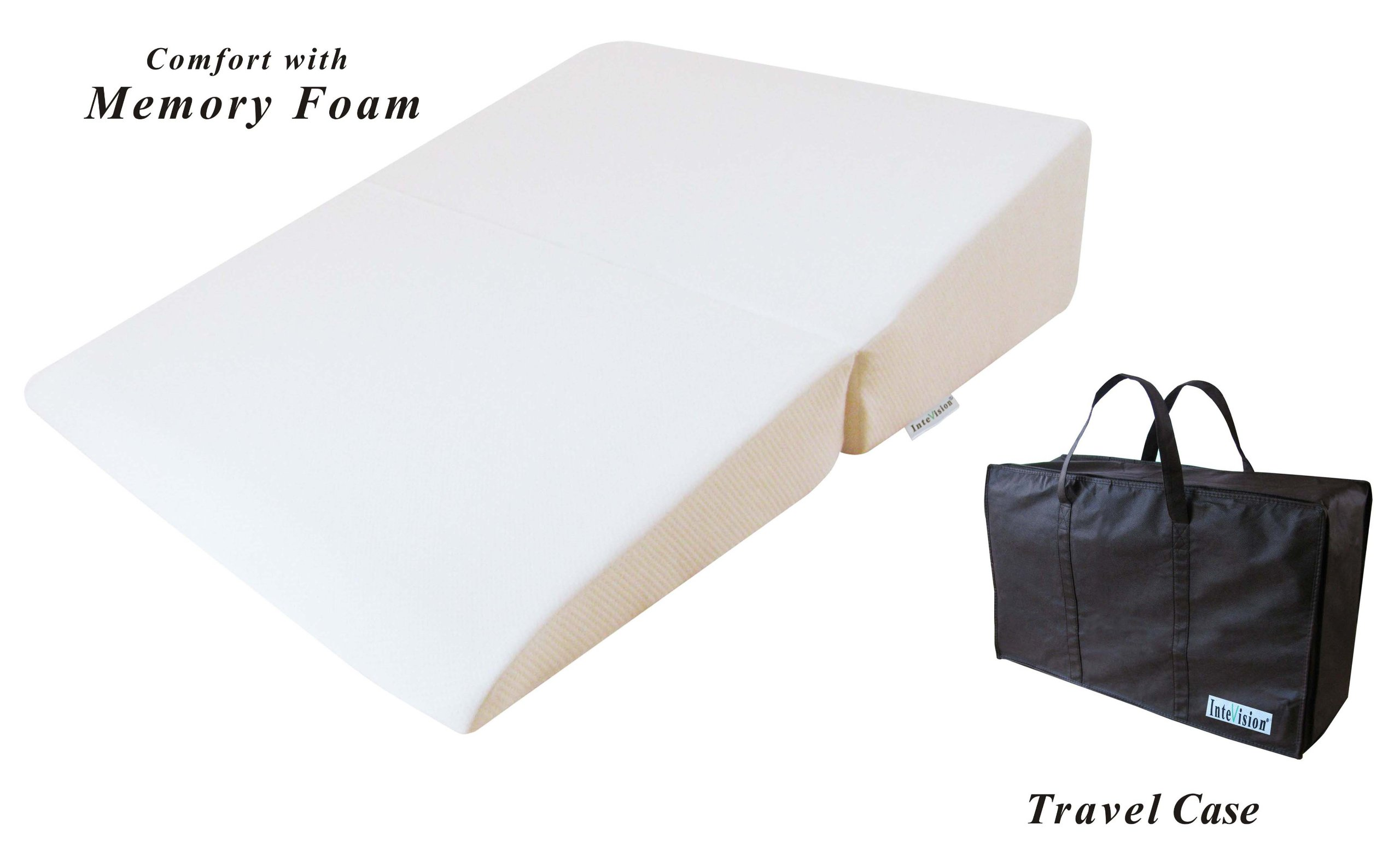 InteVision Folding Wedge Bed Pillow (32'' x 25'' x 6.5'') with a Carrying Case by InteVision (Image #1)