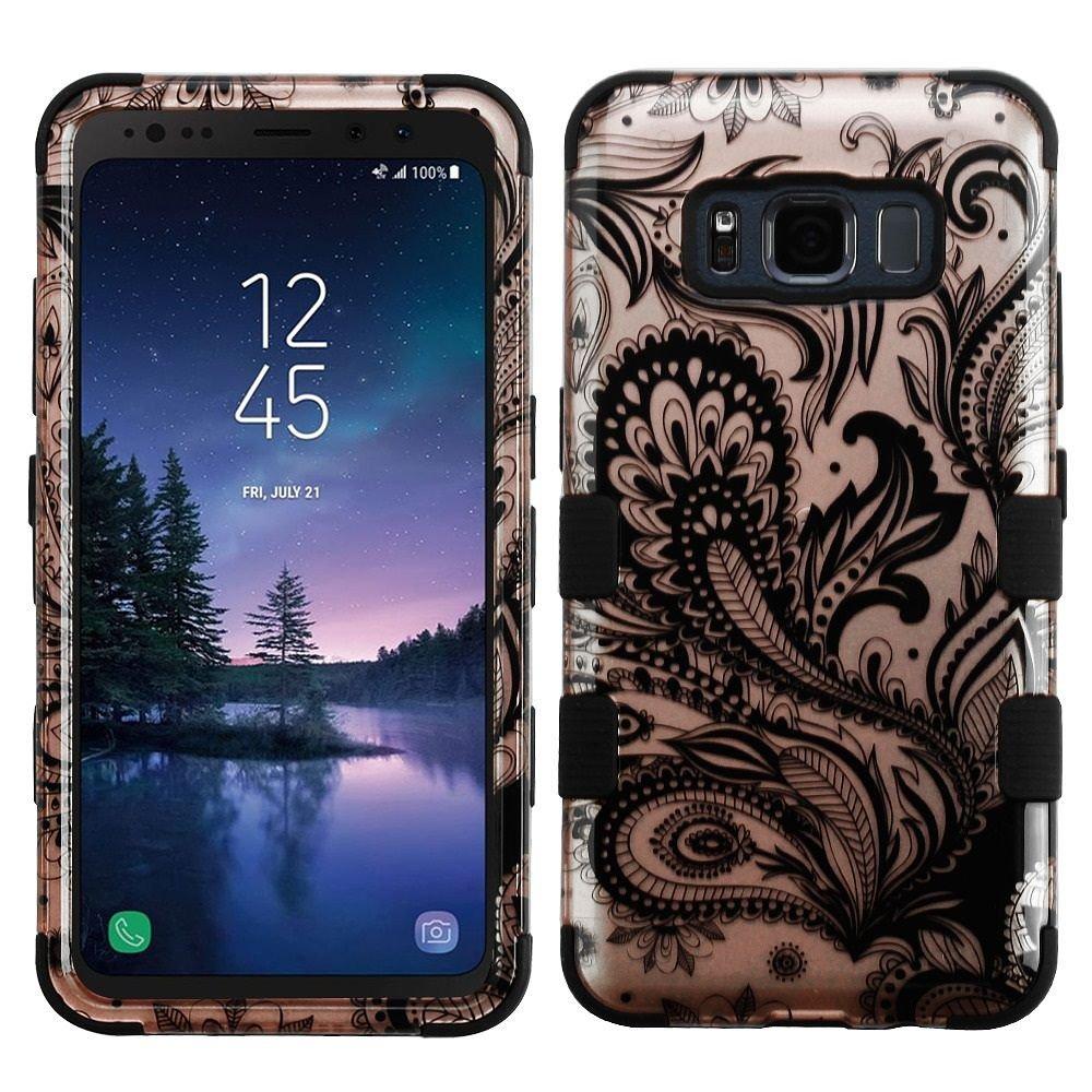 Galaxy s8アクティブケース、MYBAT TuffフェニックスFlowerデュアルレイヤ[衝撃吸収]保護ハイブリッドPC/TPUラバーケースカバーfor Samsung Galaxy s8アクティブ、ローズゴールド/ブラックB077GRNRDL