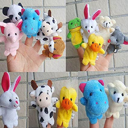 2//10Pcs Finger Puppet Cloth Plush Educational Hand Cartoon Animal Baby Toy th
