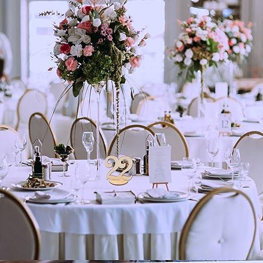 Funpa Números de Mesa, 21-30 Número de Tabla de Madera de La Vendimia con Base de Soporte para Banquete de Cumpleaños de Boda Aniversario Oficina ...