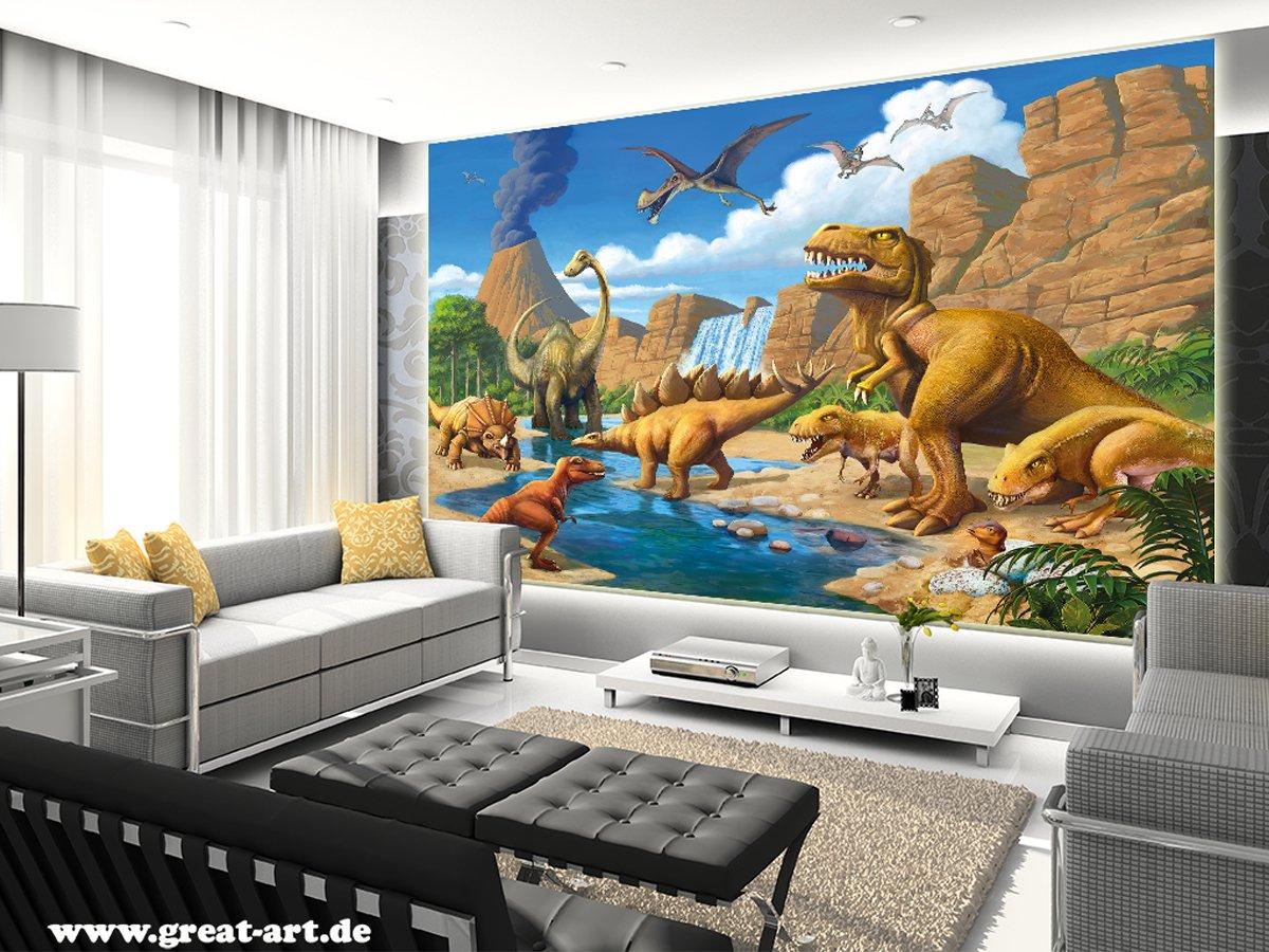 Papier peint photographique dinosaures fotomural dinosaures D/écoration murale XXL pour la chambre denfants 6161915 adh/ésif sp/écial