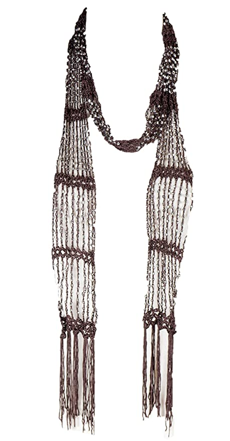 1920s Accessories: Feather Boas, Cigarette Holders, Flasks Fishnet Beaded Scarf summer Belt infinity scarf necklace plain solid color $5.62 AT vintagedancer.com