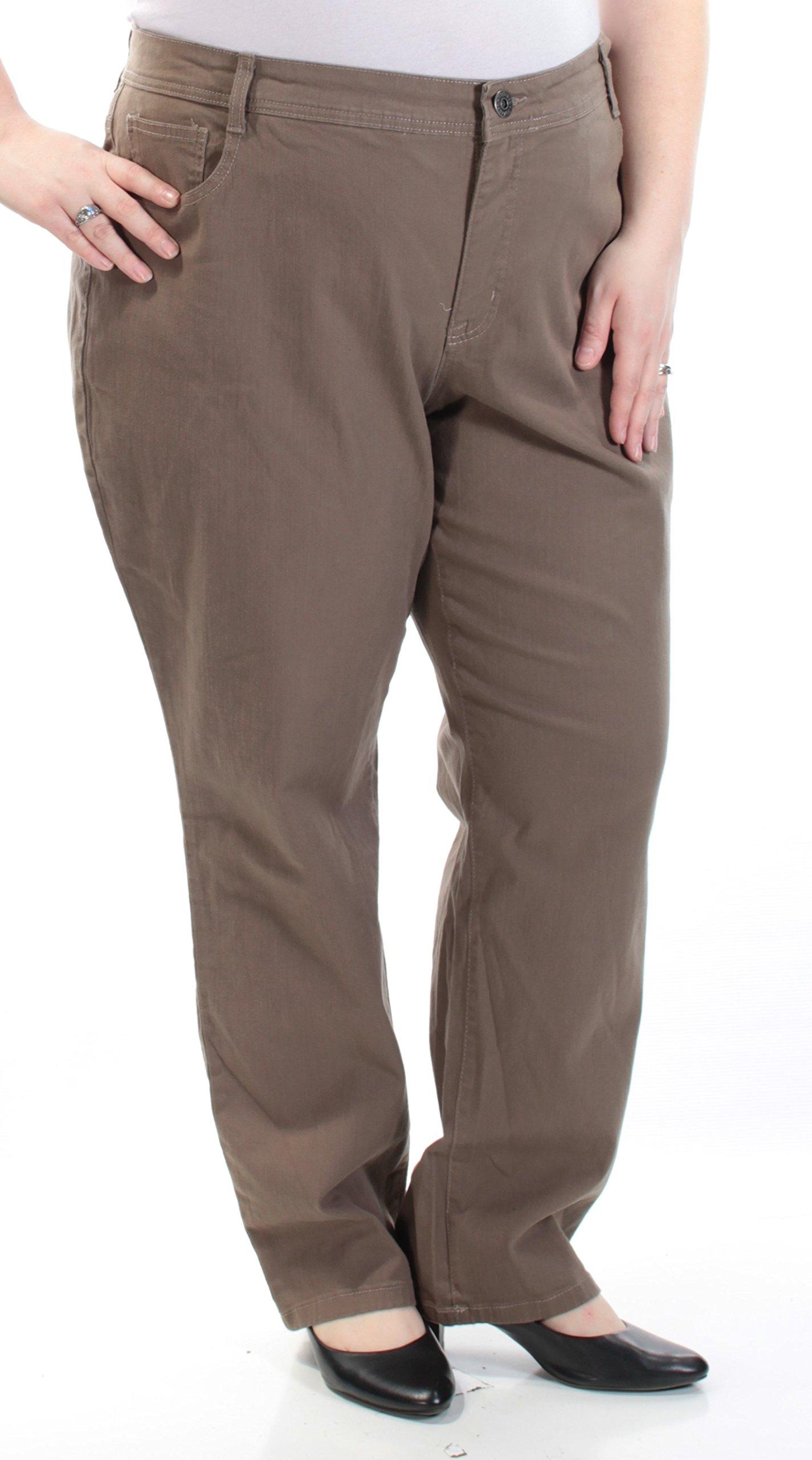 Style & Co. Womens Plus Denim Tummy Control Skinny Jeans Taupe 24W