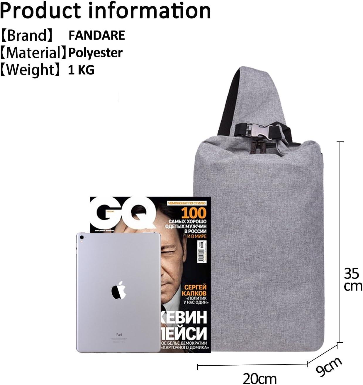 FANDARE New Sling Bag Hommes /Étudiants Sports Fitness Outdoor Sac /à Poitrine Sac /à Bandouli/ère Respirant Toile Bleu A