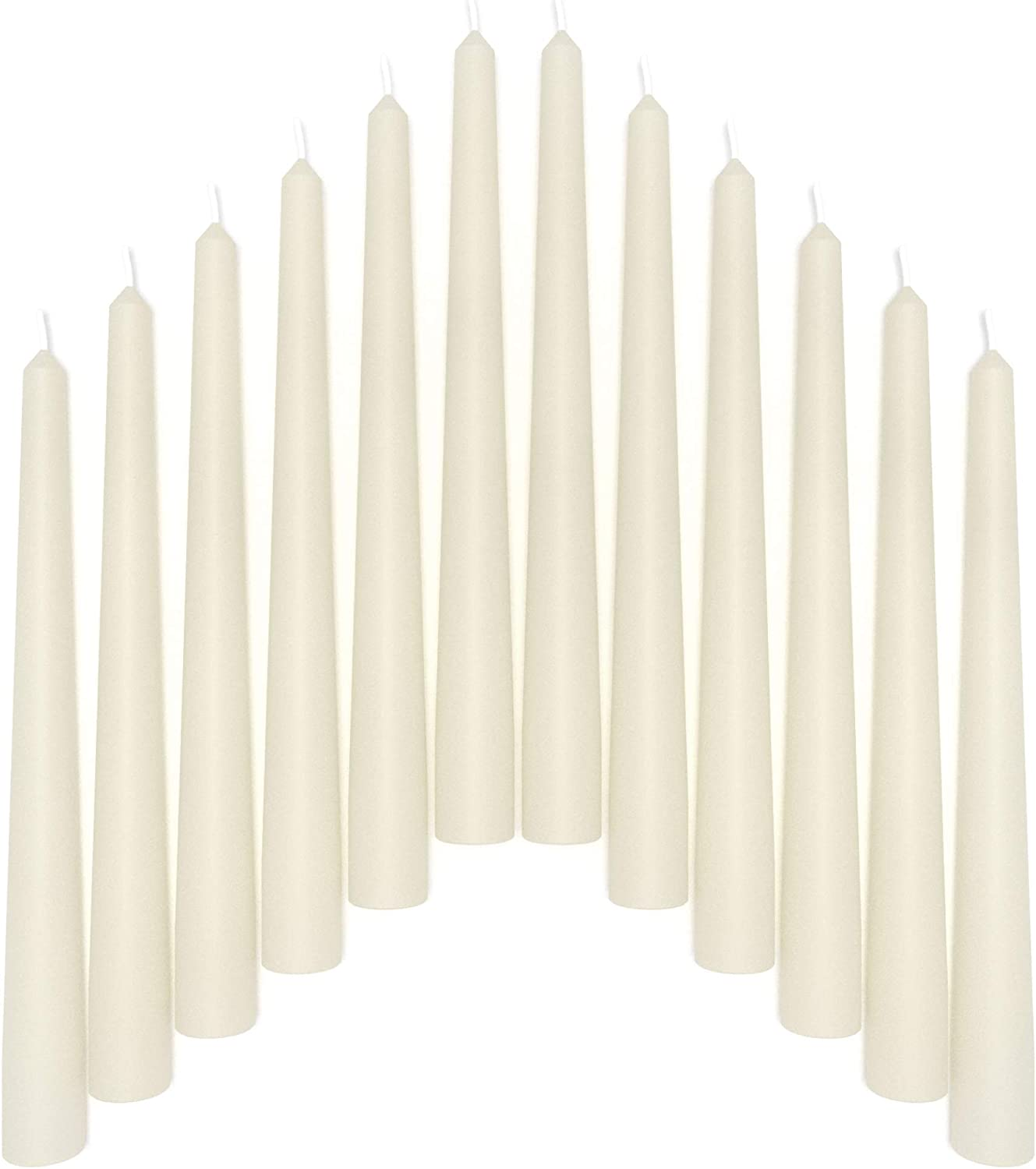 Sonedly 8 inch Taper Candle 12 Pack - Unscented Hand-Dipped Tapered Candles Long Burning Perfect for Home Interior - Dripless and Smokeless Tapered Candles for Home - 6-Hour Burning Ivory Candles