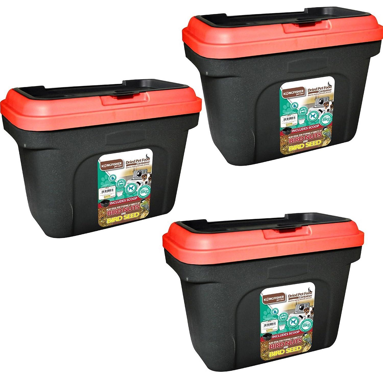 Récipient stockage aliments pour animaux Noir. Peut contenir 8kg. Rouge Couvercle. Étanche en caoutchouc 19L Pet Care