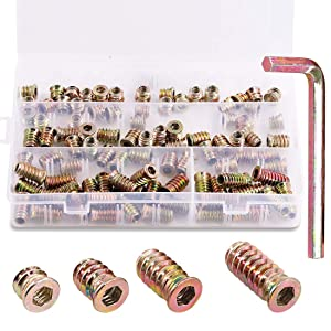 """Keadic 90Pcs 1/4"""" - 20 Nut Inserts Assortment Kit with M6 Hex Spanner, Furniture Screw in Nut Threaded, Wood Inserts, Bolt Fastener Connector Hex Socket Drive for Wood Furniture - 10/15/20/25mm"""