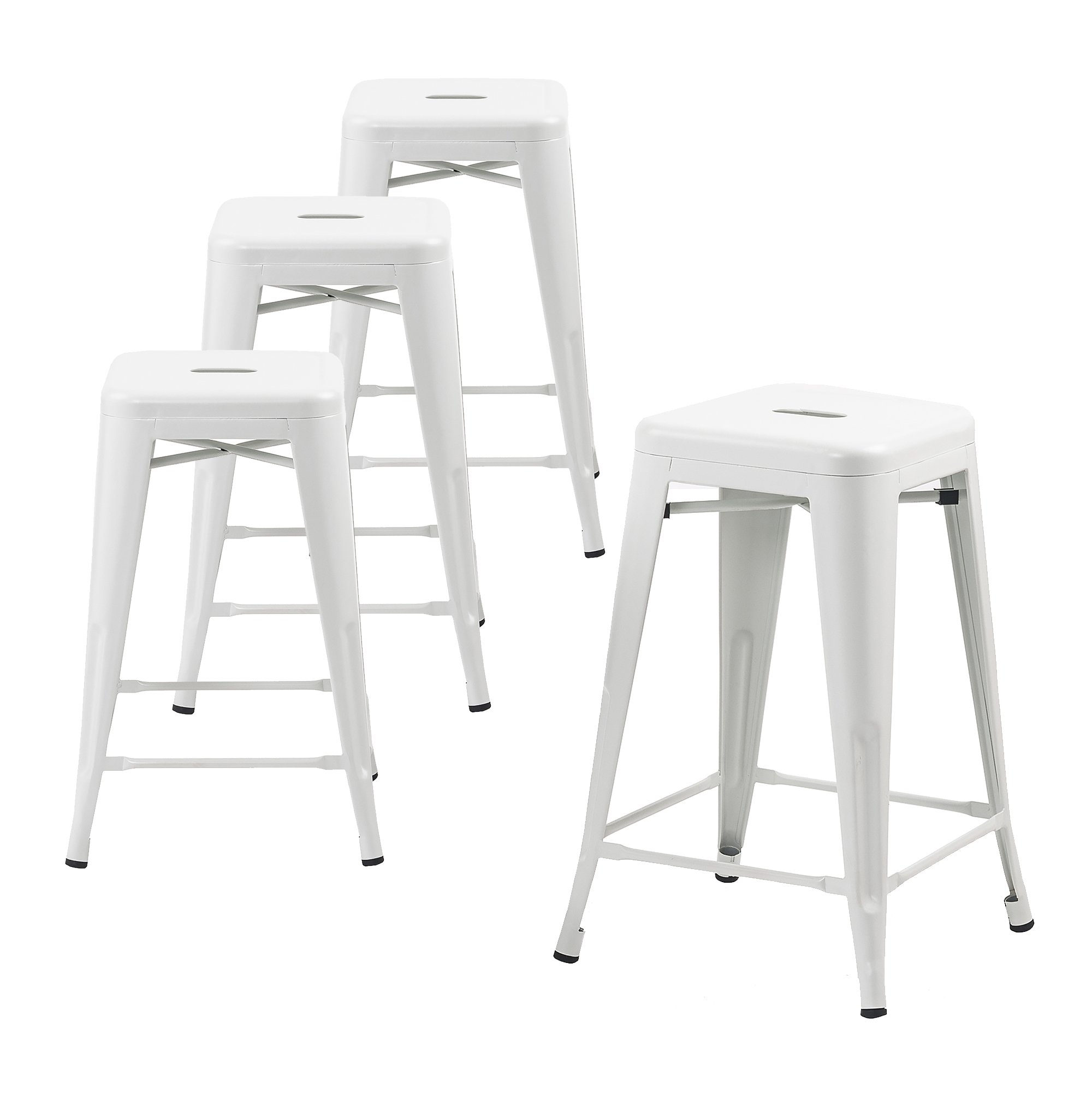 Buschman Store Metal Bar Stools 24'' Counter Height, Indoor/Outdoor and Stackable, Set of 4 (Matte White) by Buschman