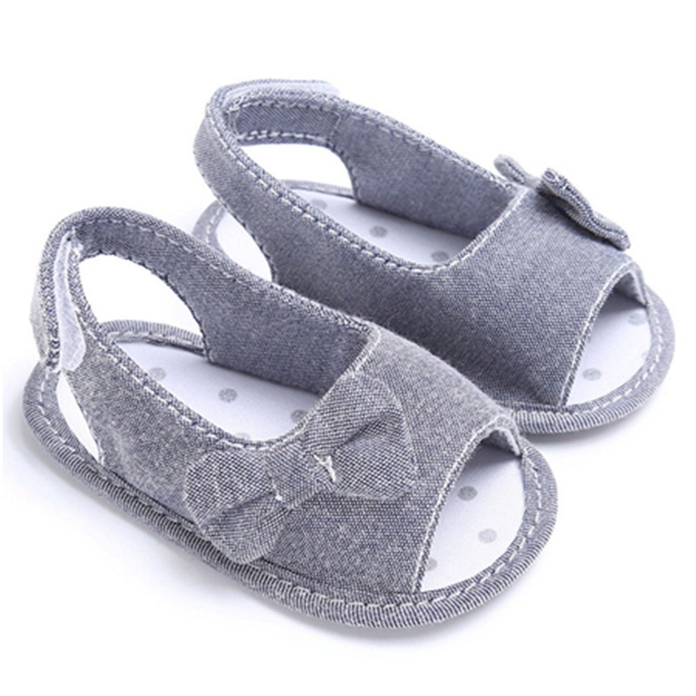 Summer Baby Girl Bowknot Sandals Outdoor Princess Shoes Sneaker Anti-Slip Gray 13-18 Months