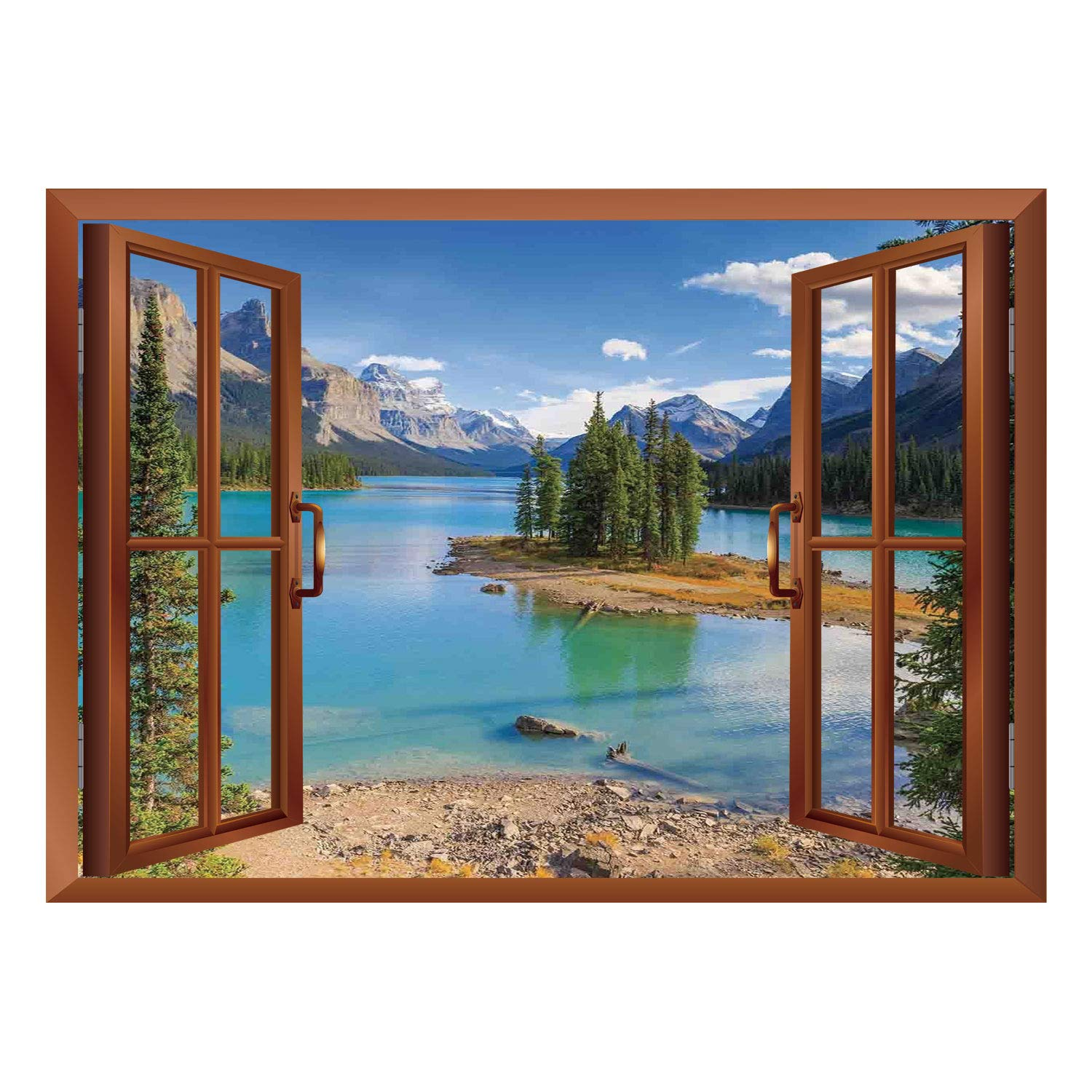 Scocici wall mural removable sticker home décor lake house decormaligne lake in jasper natioanal park alberta canada summer day outdoor picturegreen
