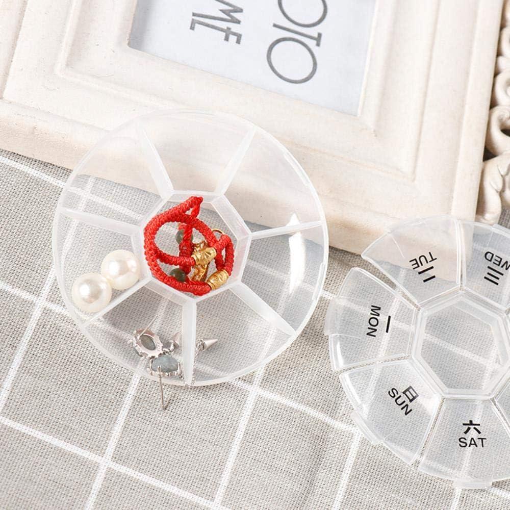 Pastillero circular port/átil una semana 7 rejillas Estuche de medicina Estuche de pastillas Estuche blanco transparente Viaje a casa Pastillas Contenedor de medicamentos