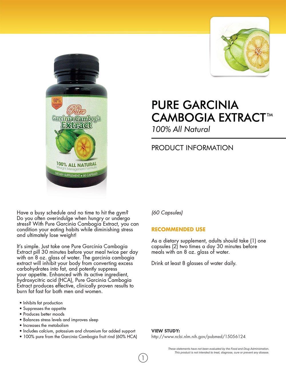 100% Pure Garcinia Cambogia 500mg 60% HCA (60 Capsule Bottles) (5 Month Supply)