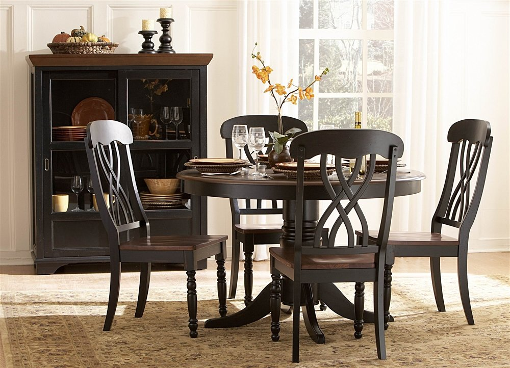 amazoncom homelegance ohana 48 round dining table black tables - Black And Wood Dining Table