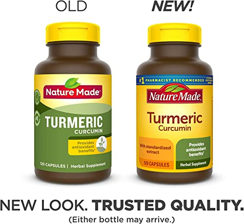 Nature Made Turmeric Curcumin 500 mg Capsules, 120 Count for Antioxidant Support Packaging May Vary