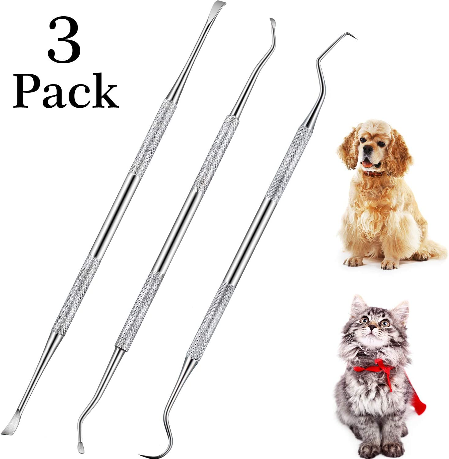 Dog Dental Tooth Scaler and Scraper Stainless Double Headed Tarter Remover Scraper Pet Teeth Cleaning Tools for Dog and Cat (3)