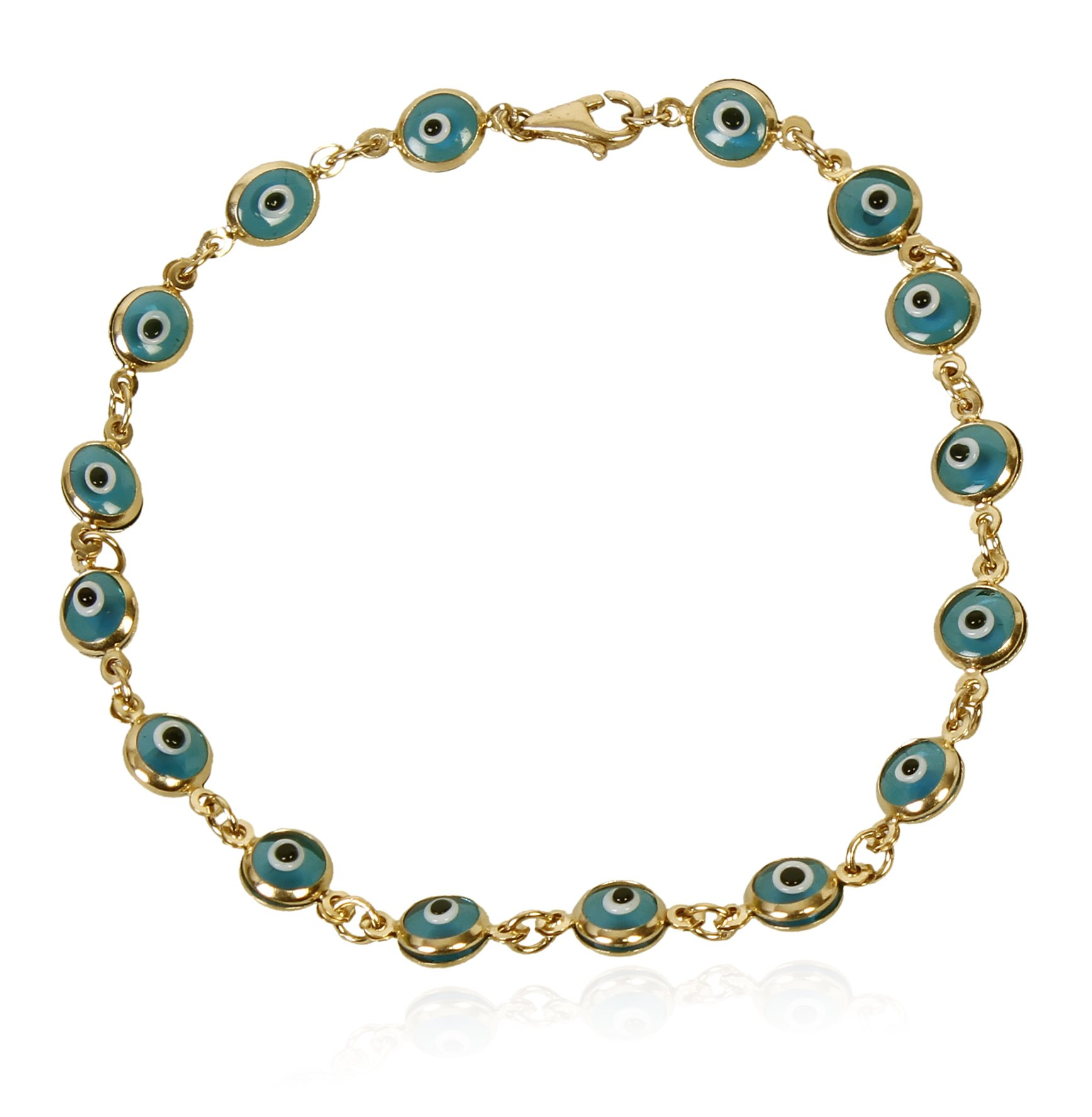 14k Gold 7 Inch Evil Eye Link Chain Bracelet (Blue)