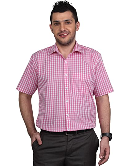 00da88f243d99 Zeal Men s Shirt Half Sleeve Cotton Checkered Formal Pink and White ...