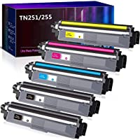 5 Pack Compatible TN251 TN255 Toner Cartridge for Brother HL3170CDW MFC9330CDW MFC9340CDW MFC9140CDN MFC9335CDW(2BK,1M…
