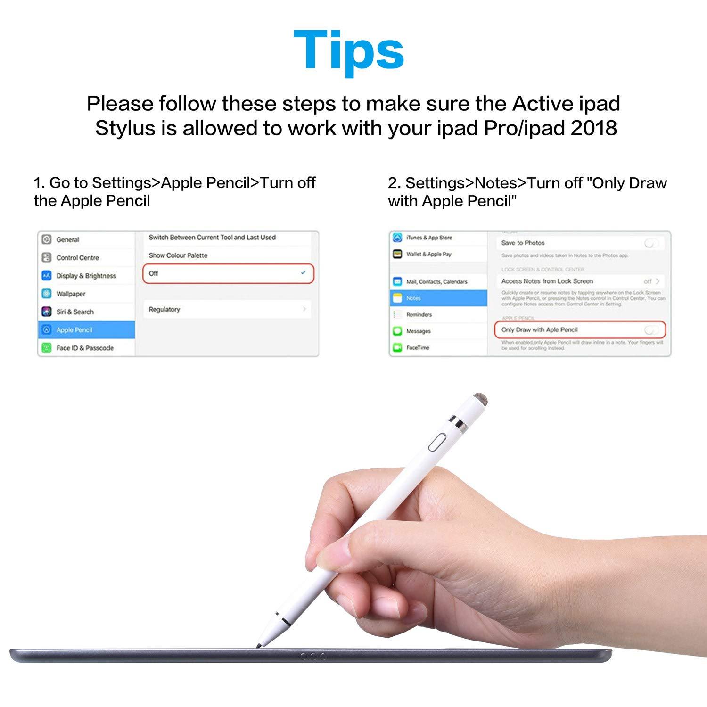2018 ipad air3 10.5 Stylus Pen Compatible con iPad6 2018 ipad pro3 12.9 ipad pro 11 L/ápiz Capacitivo Punta Fina 1.5 mm ipad mini5 URSICO L/ápiz T/áctil para ipad .