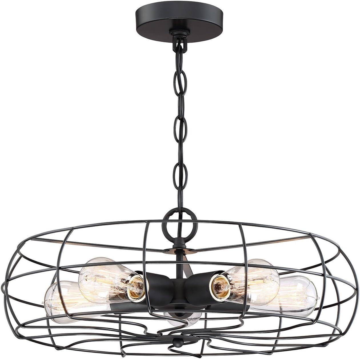 Kira Home Gage 18 Industrial 5-Light Fan Chandelier Fan Style Metal Cage Dimmable Adjustable Height Matte Black Finish