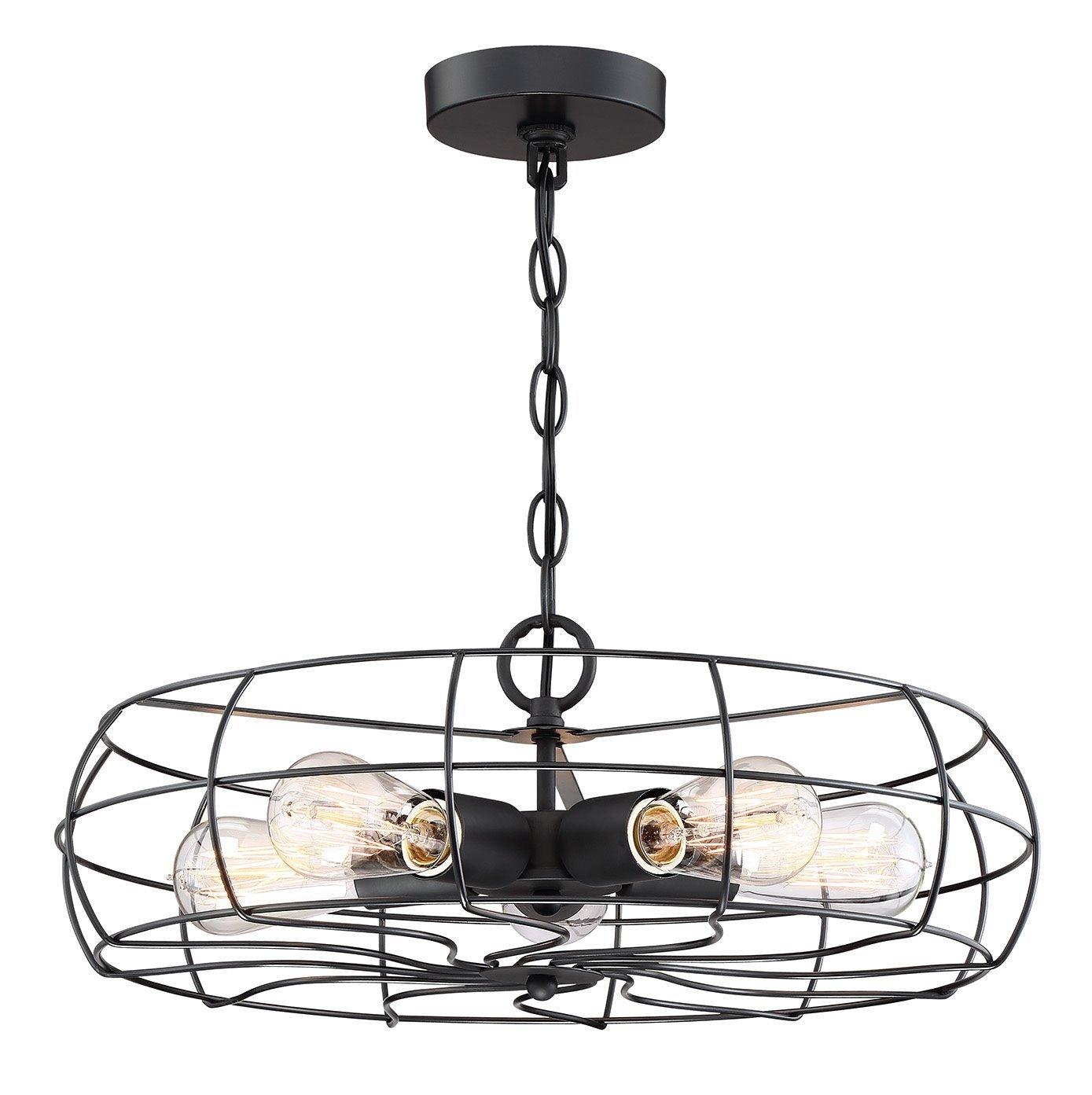 Revel/Kira Home Gage 18'' Industrial 5-Light Fan Style Metal Cage Chandelier, Matte Black Finish by Kira Home