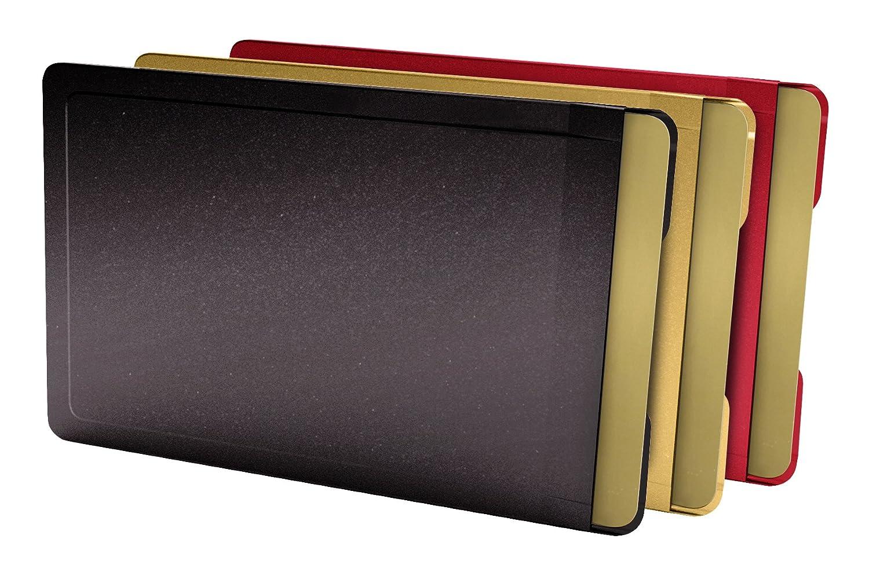 CardTresor Color Kartenschutzhülle aus Edelstahl, 3er-Set farbig, schwarz, rot, gold, RFID/NFC-Schutz BMK Innovationen EC005A