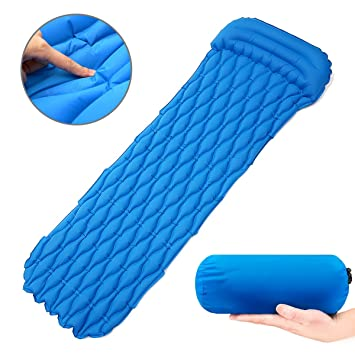 FUNTOK Ultralight Sleeping Pad Camping Pad with Innovation Buckle Design Built-in Pillow Inflatable Camping Pad Mat Long-Lasting Waterproof Suitable ...