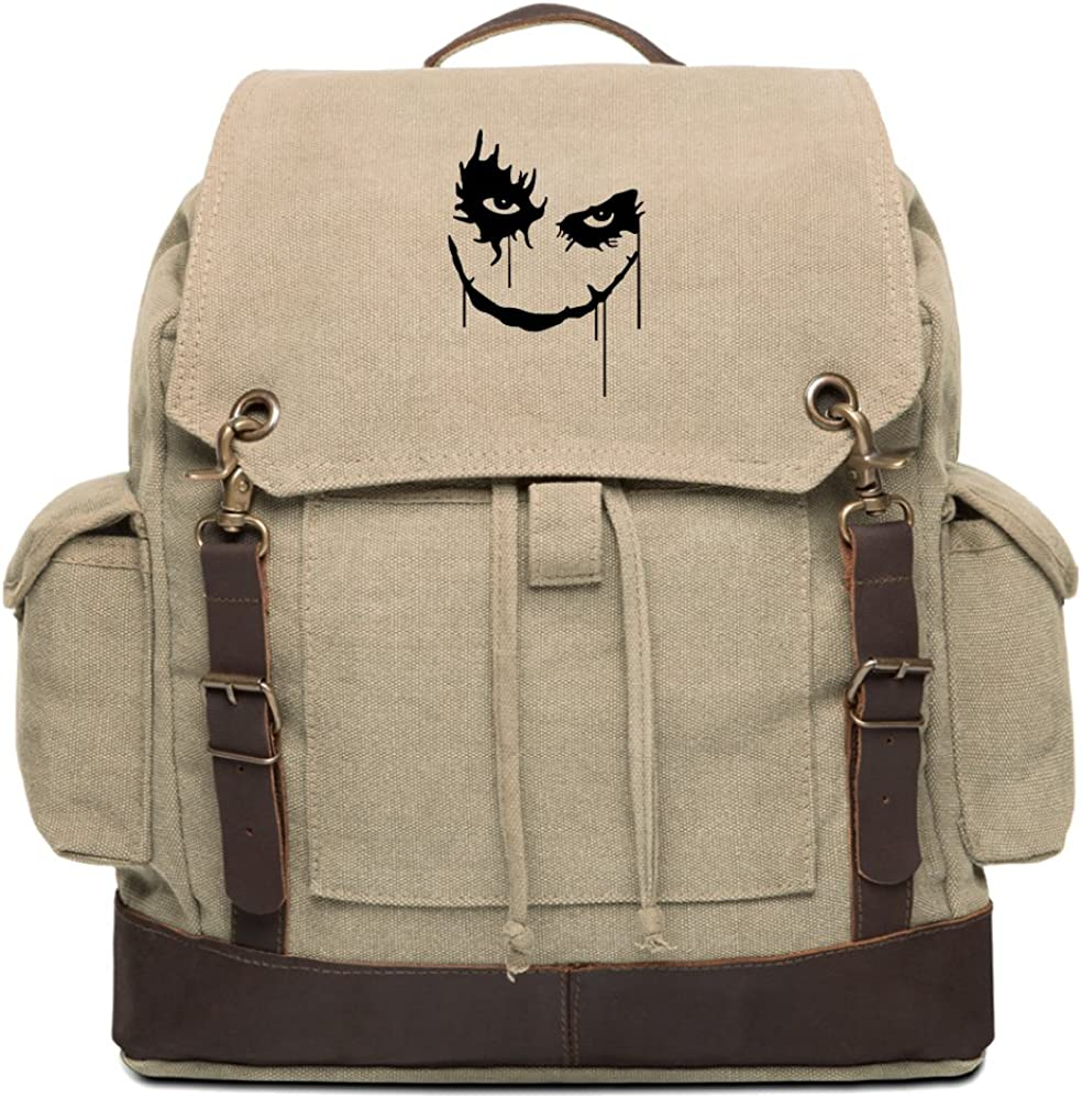The Joker Face Vintage Canvas Rucksack Backpack with Leather Straps