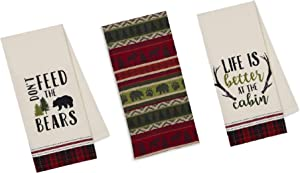 3 Cabin Lodge Themed Decorative Cotton Kitchen Towels with Bear, Antler, Deer, Moose and Paw Print | Towel Set for Dish and Hand Drying
