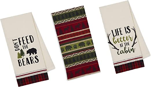 Life is Better in the Mountains Cabin Cottage Kitchen Cotton Flour Sack Bar Tea Towel