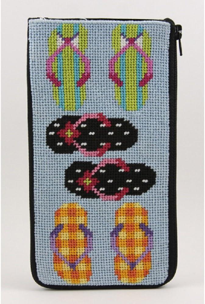 Flip Flops Stitch /& Zip Eyeglass Case Needlepoint Kit