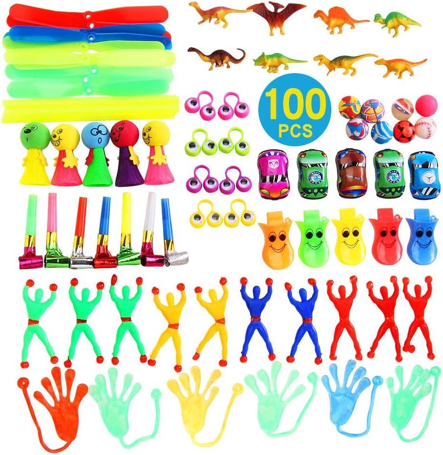 YueChen 100 Juguetes de Fiesta a Granel,Juguetes para Piñatas Cumpleaños , Ideal Rellenar Bolsas de Fiesta,Bolsas de Regalo de Fiestas de cumpleaños Infantiles