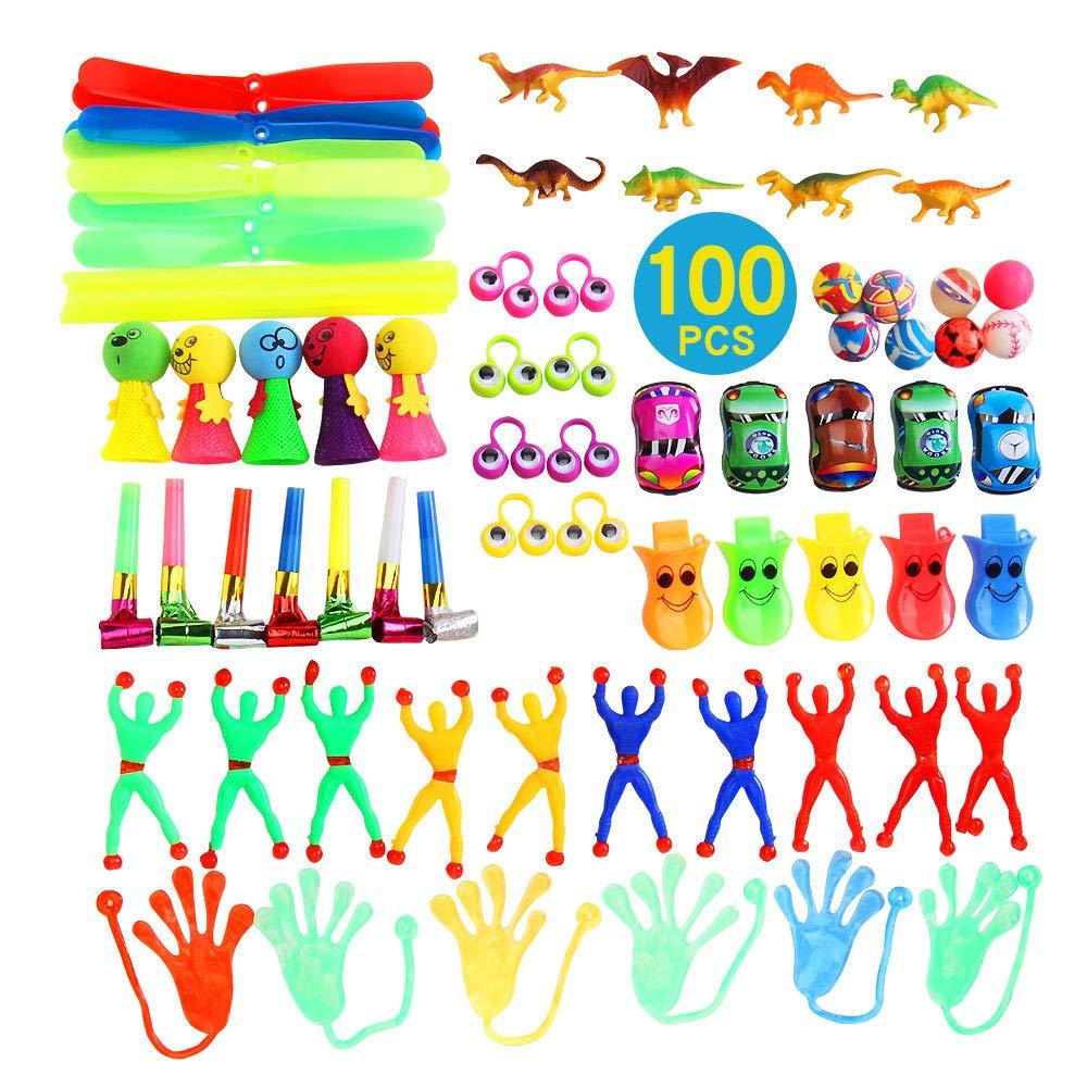 YueChen 100Pcs Jouet Assortiment pour Enfants ,Jouets Pinata Anniversaire,Sac Cadeau Anniversaire Enfant, Carnaval Prix Récompense de L'école ,Recompense Enfant