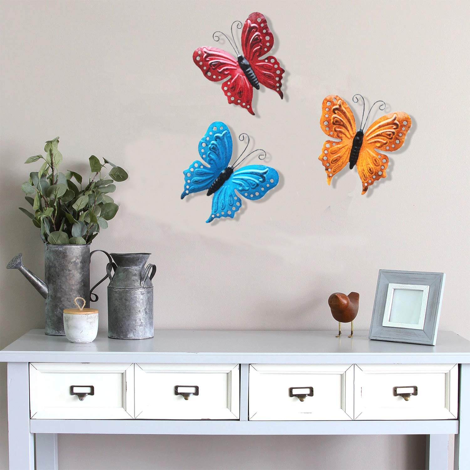 ShabbyDecor Metal Butterfly Hanging Decoration for Indoor or Outdoor Set of 3 81NAGMB11RL