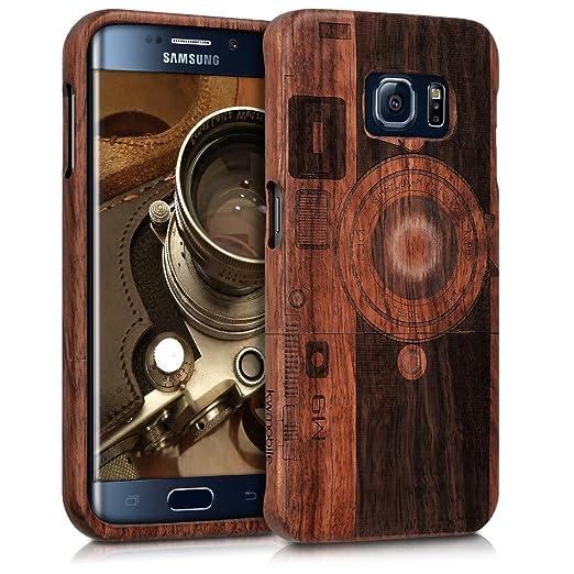 4 opinioni per kwmobile Custodia in legno per Samsung Galaxy S6 Edge Cover legno naturale legno
