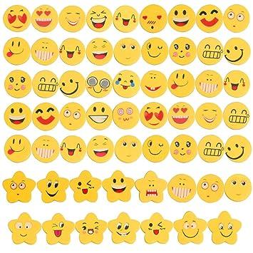 Tomkity 60 Piezas Emoji Emoticon Lápiz Gomas Borrar Lindos Regalos para Niños Fiesta Cumpleaños Regalo Juguete