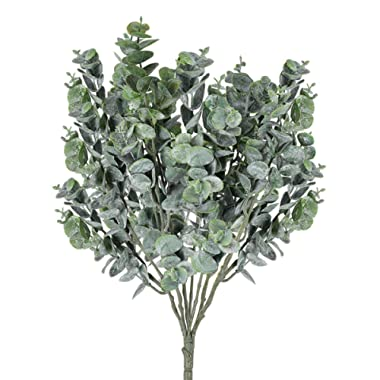 Yinhua Artificial Eucalyptus Leaves Greenery Leaves Faux Silver Dollar Eucalyptus Greenery Branches Plant for Greenery Wedding Jungle Theme Party(Eucalyptus Leaves, Pack of 3)