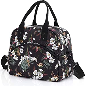 Insulated Lunch Bag with Detachable Shoulder Strap & Carry Handle,Leak Proof Reusable Lunch bag, Eco-friendly Cooler Bag Tote Bag,School Lunch Box for Kids,Men,Women(white Flower)