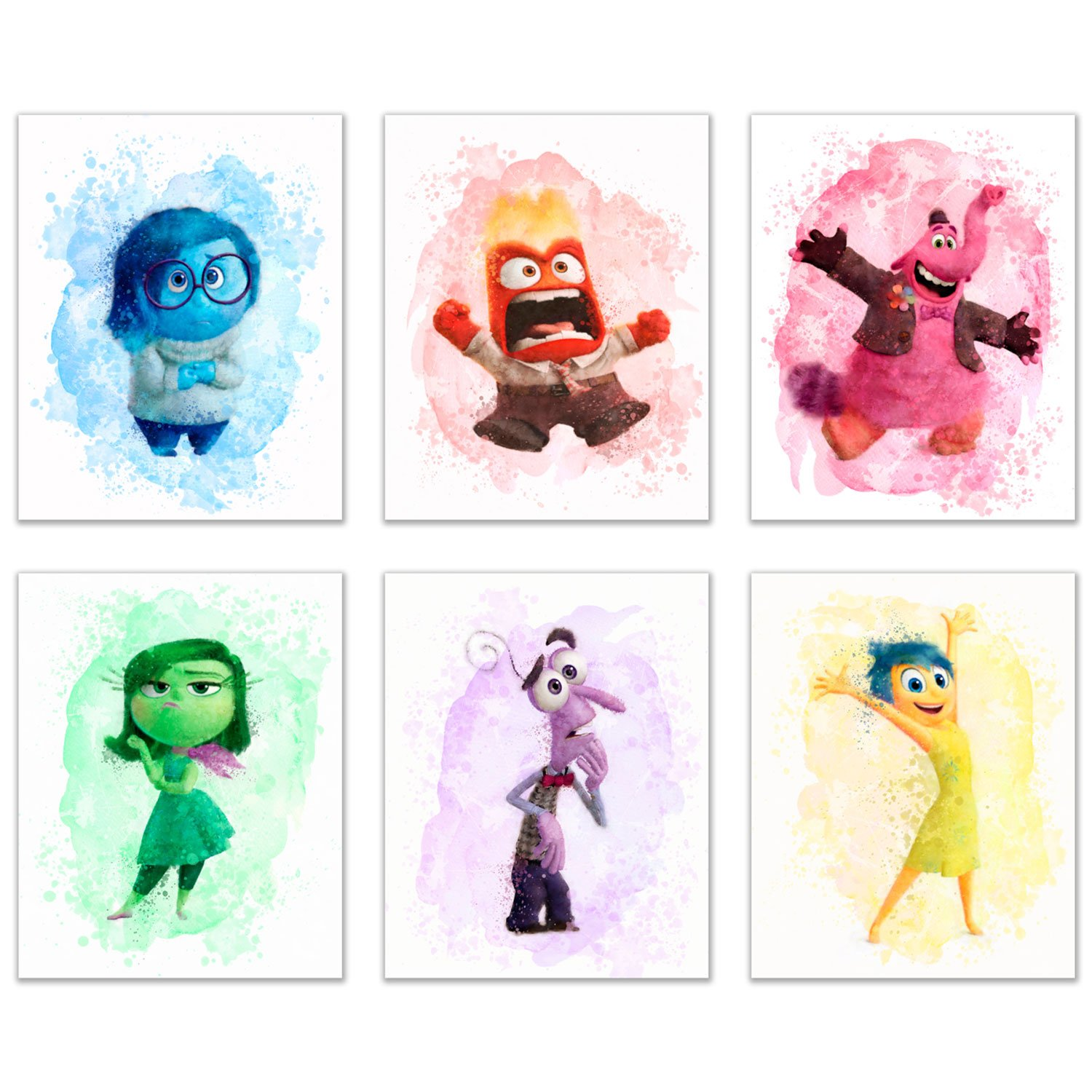Summit Designs Inside Out Movie Wall Decor Art Prints - Set of 6 (8x10) Poster Photos - Bing Bong Disgust Joy Happiness