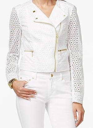 MICHAEL Michael Kors Women's Asymmetric Lace Jacket White 6