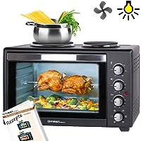 Mini four | 45 litres | 3200 watts | avec 2 plaques électriques | Broche tournante et chaleur tournante | Mini-four à pizza | Mini-cuisine | Plaques électriques utilisables à part |