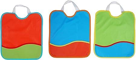Ti TIN Pack de 3 Baberos Impermeables para Bebé 100% Poliuretano | Lote de 3 Baberos Transpirables con Cierre con Goma y Bolsillo para Bebés de más de 12 meses, 28x32 cm